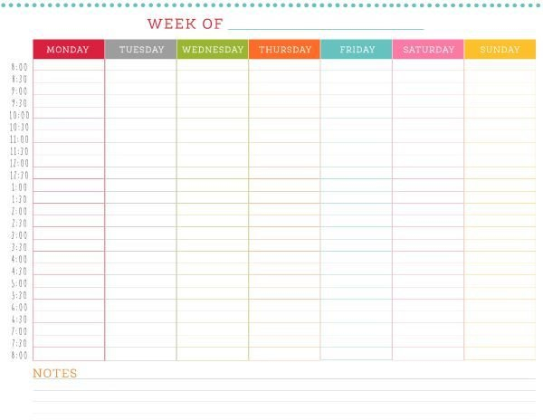 Free Printable Weekly Schedule   Weekly Planner Template Printable Calendar For Every 2 Weeks