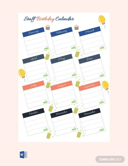 Free Staff Birthday Calendar Template – Pdf | Word (Doc Free Calendar Template For Birthdays
