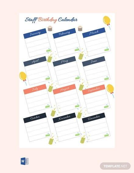 Free Staff Birthday Calendar Template – Pdf | Word (Doc Free Printable Birthday Calendars