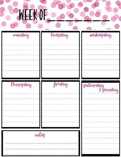 Free Weekly Calendar Planner Printable: Full And Half Size One Week Schedule Print