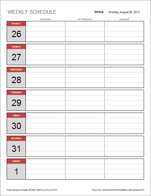 Free Weekly Schedule Template For Excel Simple Weekly X5 Calendar Template