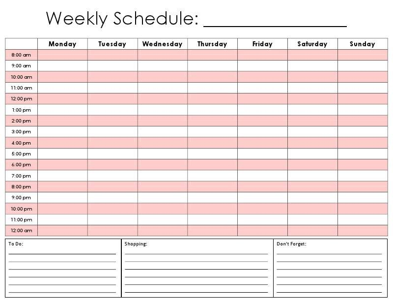 Free Weekly Schedule Template   Shatterlion Printable Daily Hourly Schedule
