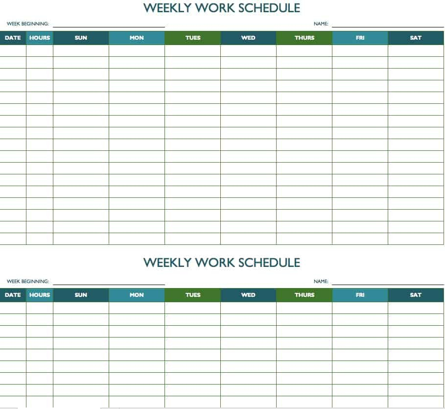 Free Weekly Schedule Templates For Excel – Smartsheet Printable Employee Booked Time Off Calendar
