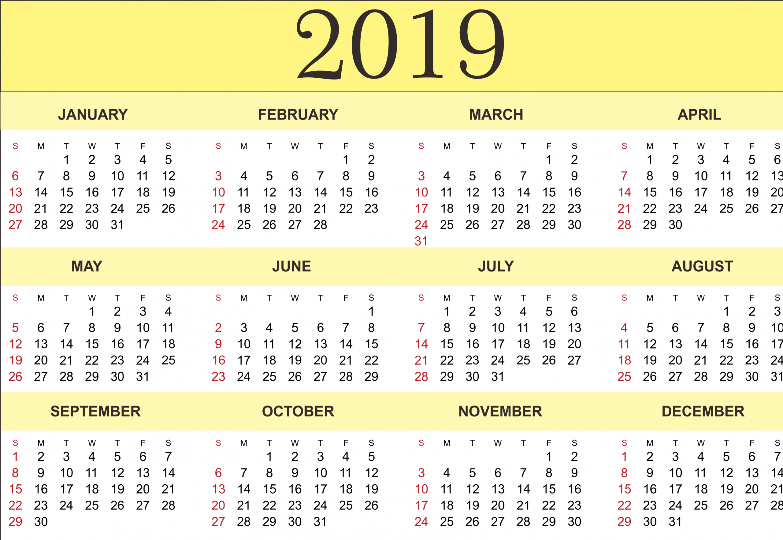 Free Yearly Calendar 2019 – Printable Blank Templates Small Printable Blank Calendar