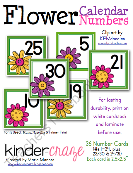 Free~Flower Themed Calendar Numbers Product From Kinder Printable Numbers 1 31 Classroom Sets