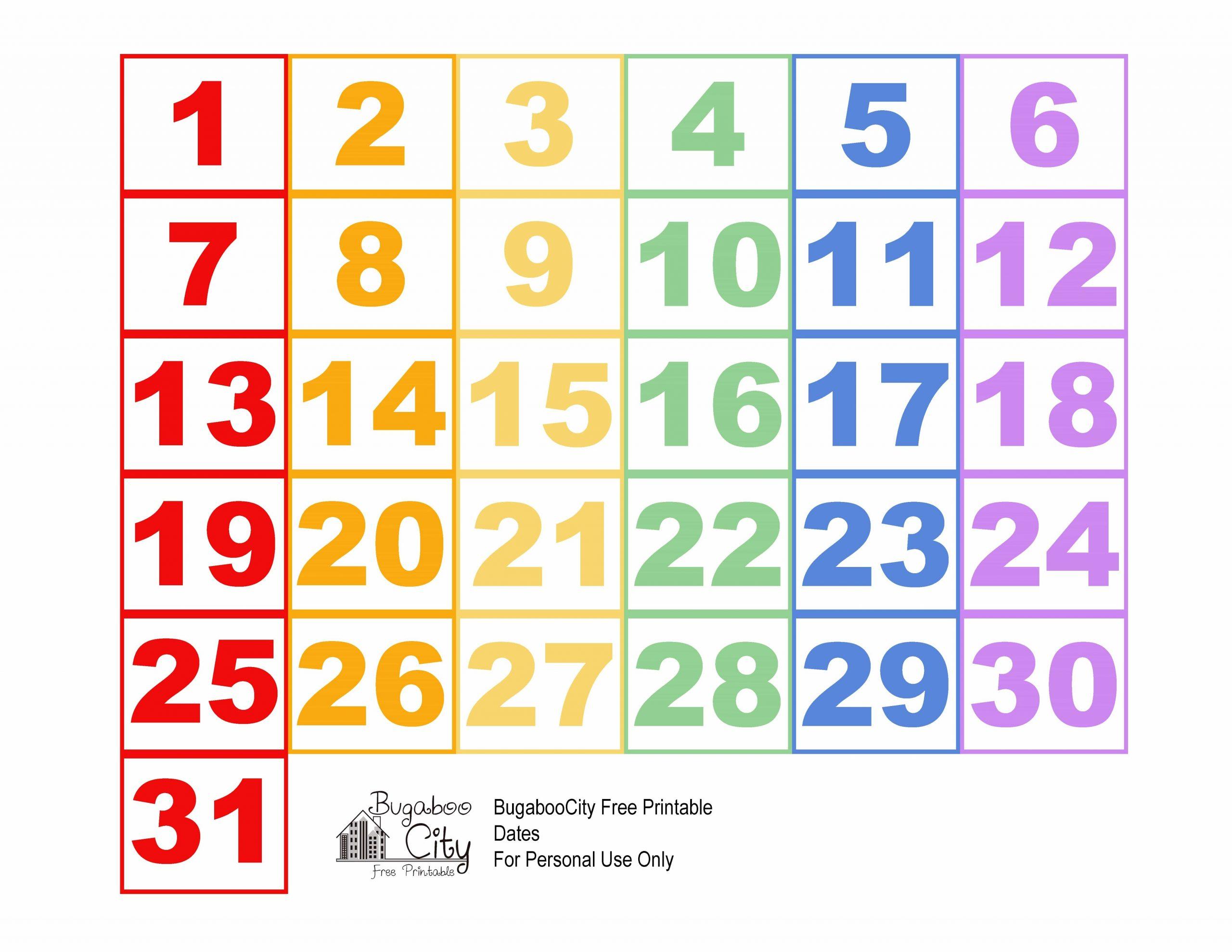 Fresh Printable Calendar Numbers   Free Printable Calendar Numbers For Calendars 1 31 Toddlers