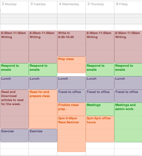 Get A Life, Phd: Start The Semester Off Right: Make A Color Coded Weekly Schedule