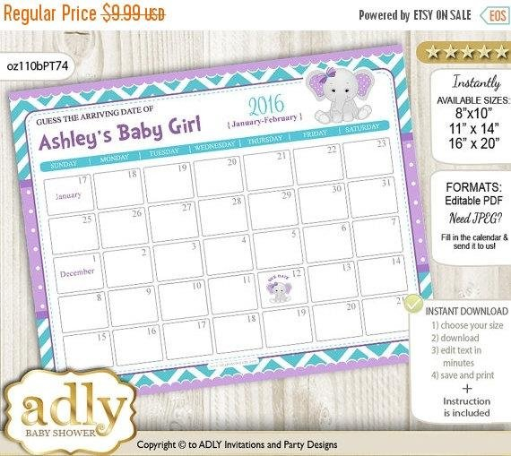 Girl Elephant Guess Due Date Calendar For Free Printable Baby Guessing Calendar