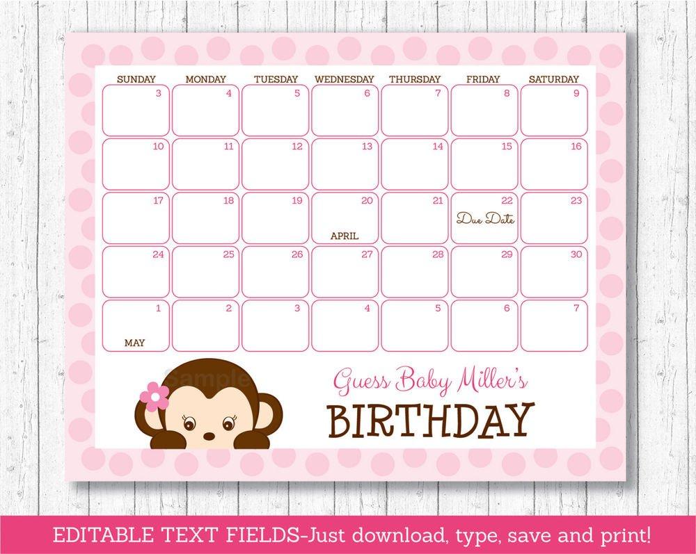 Girl Monkey Pink Baby Due Date Calendar Editable Pdf | Ebay Printable Baby Calendar Due Date