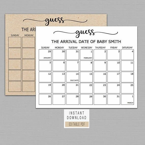 Guess Baby Birthday Calendar, Baby Due Date Calendar Baby Date/Time Guessing Games Verbiage