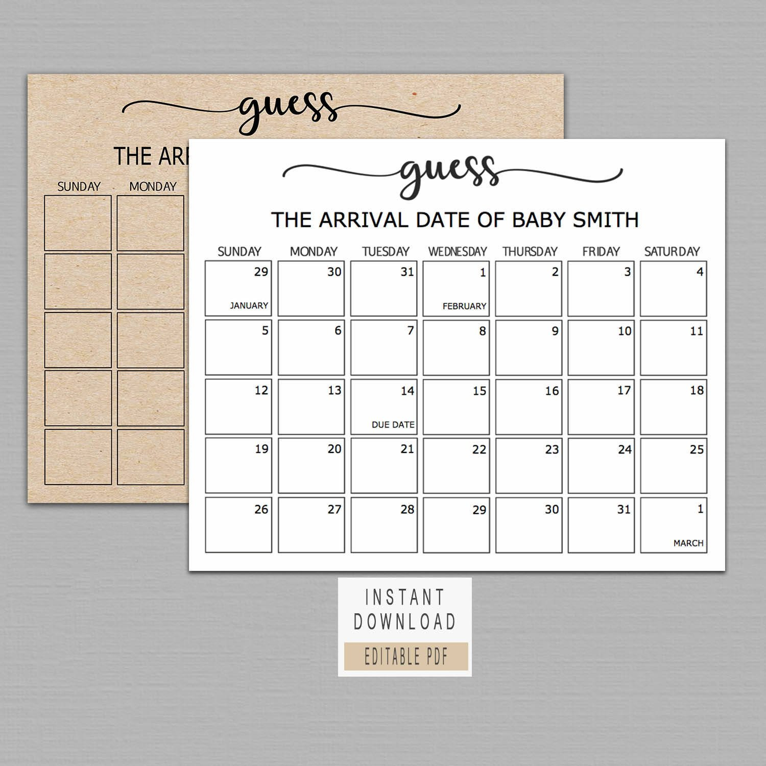 Guess Baby Birthday Calendar Baby Due Date Calendar Poster Printable Due Date Guess