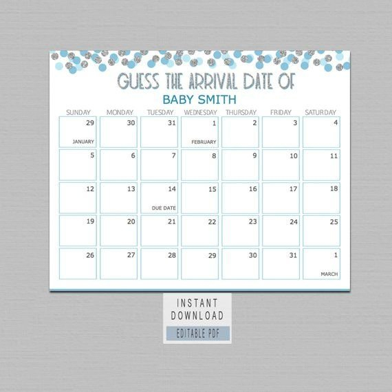 Guess Baby Birthday Calendar, Guess The Due Date Game, Boy Guess Baby'S Due Date Calendar Printable