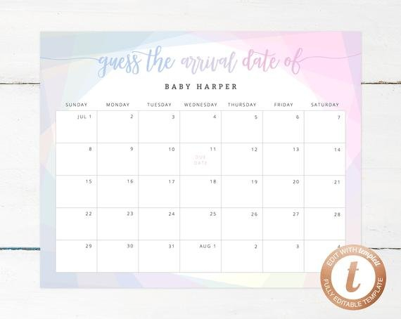 Guess Baby Due Date Calendar Template Guess The Baby Born Date Pdf