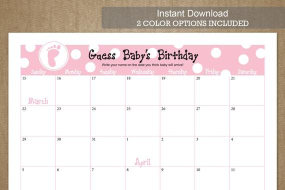 Guess Baby'S Birthday Due Date Calendarjackaroodesigningco Printable Baby Due Date Calendar