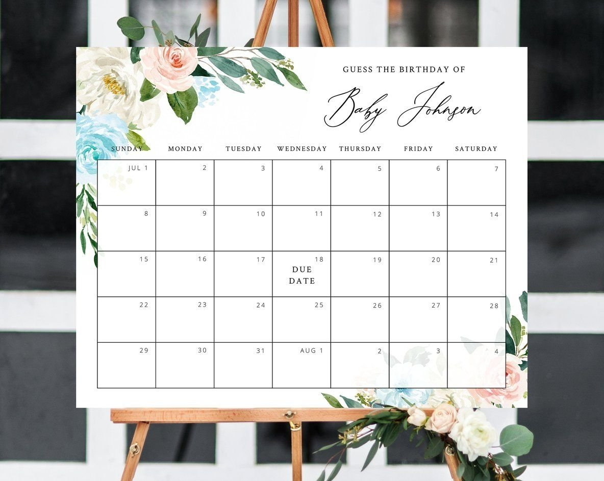Guess The Baby Birth Date | Calendar Template 2020 Guess The Baby Birth Date
