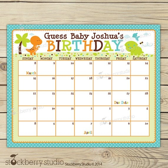 Guess The Baby Due Date : Free Calendar Template Guess The Due Date