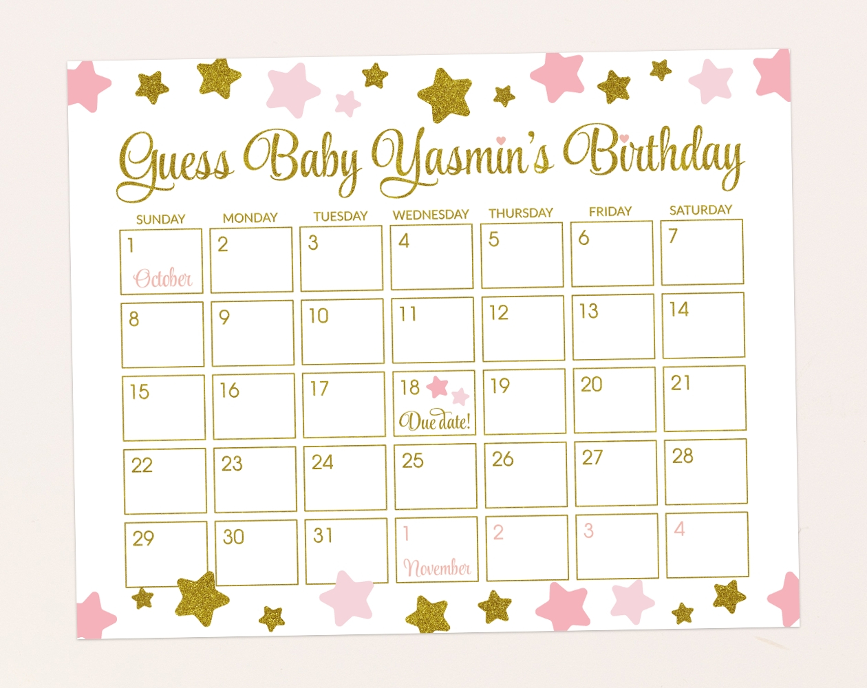 Guess The Date Babyparty | Calendar Template 2020 Baby Date/Time Guessing Games Verbiage