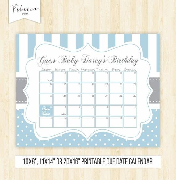 Guess The Date Boy Printable Due Date Calendar Blue Baby Printable Baby Due Date Calendar