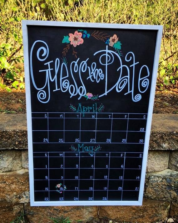Guess The Due Date Calendar Custom Hand Lettered Chalkboard Guess Due Date Calander
