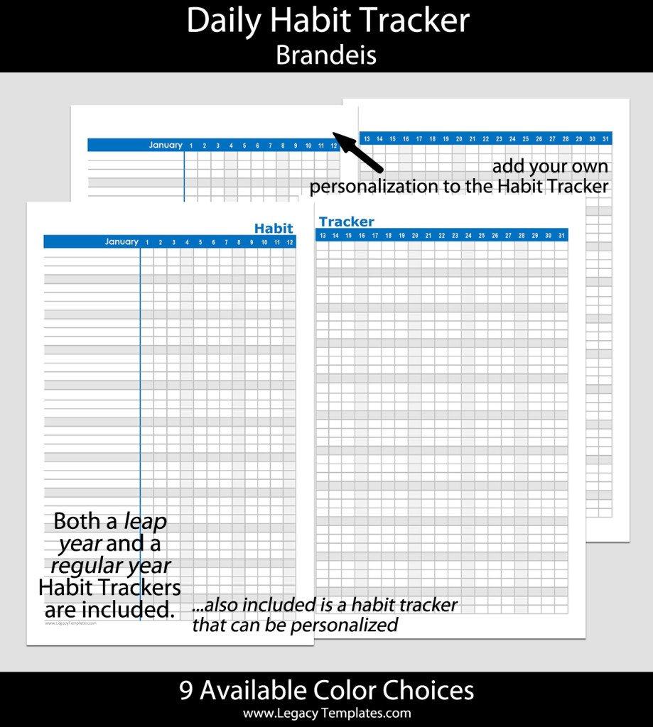 Habit Tracker (Daily) – Pln 5.5 X 8.5 | Legacy Templates 5 1/2 X 8 1/2 Page Daily Calendar Template Editable