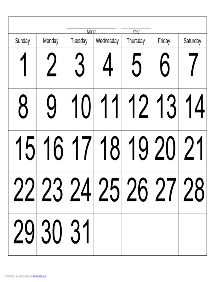 Handwriting Calendar – 31 Day – Sunday Free Download 31 Day Monthly Schedule