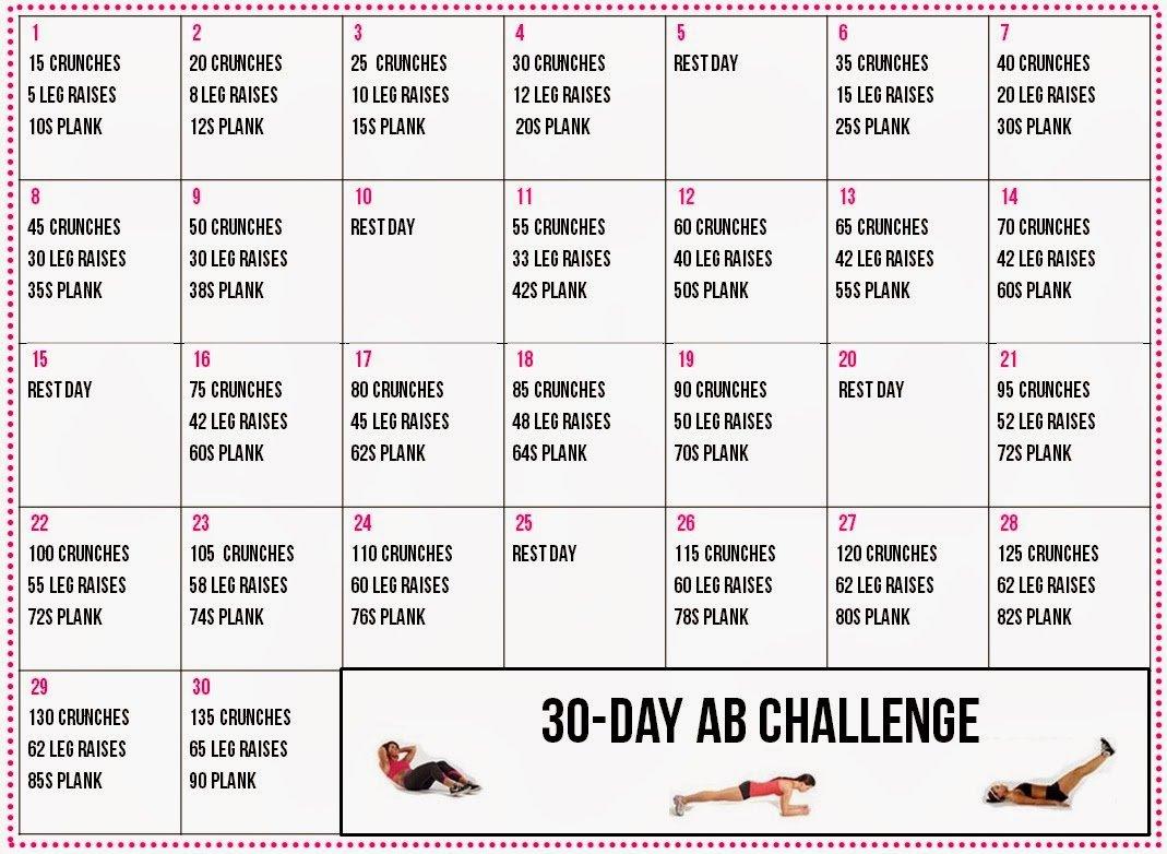 Healthy Living: 30 Day Ab Challenge Calendar 30 Day Plank Challenge Calendar Printable