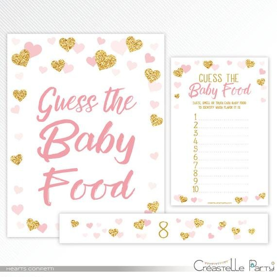 Hearts Confetti Guess The Baby Food Game, Label And Sign Guess The Baby Printable