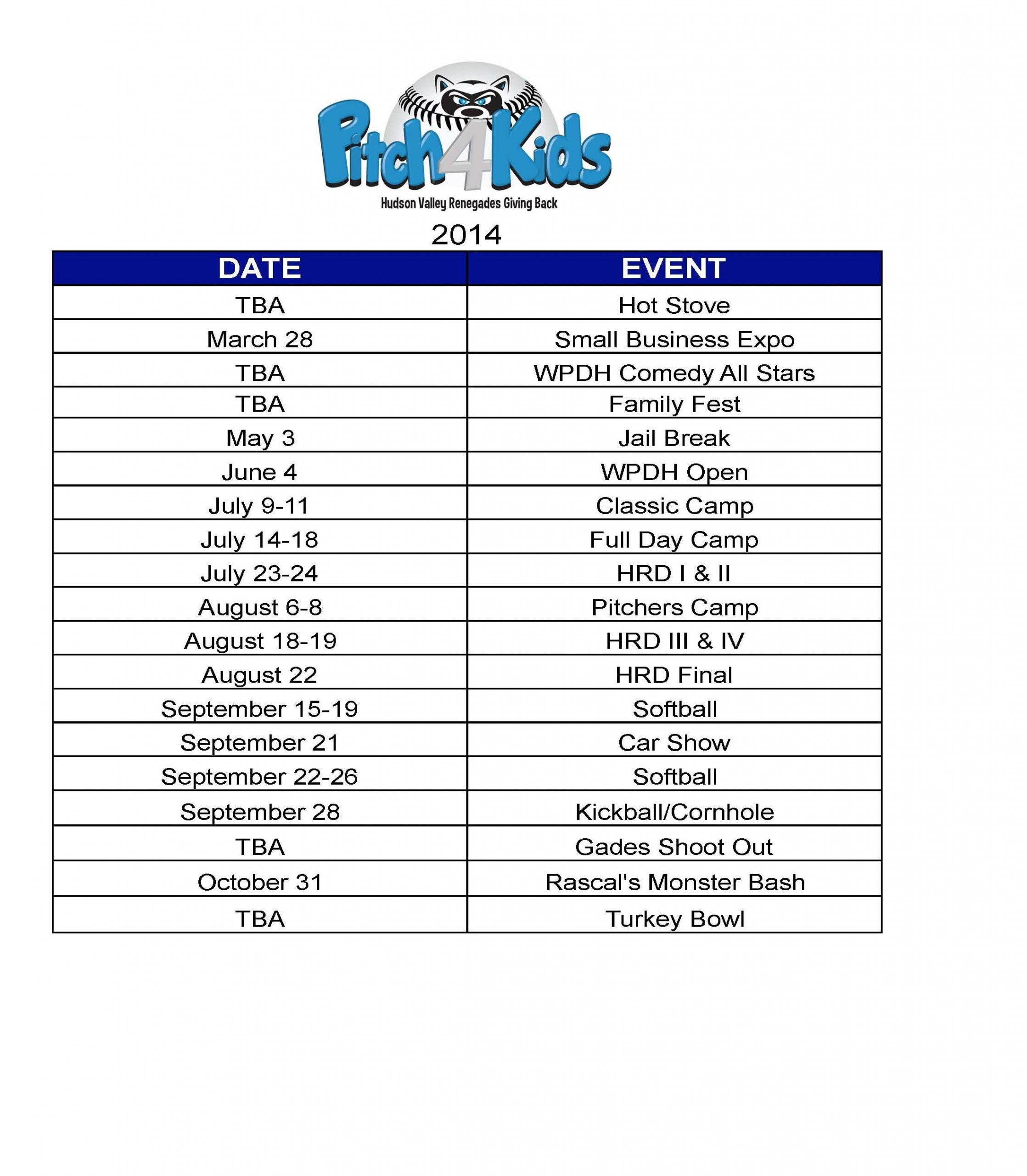 Here Is Our Current Pfk Schedule. As You Can See We Have Calendars That You Can Fill In