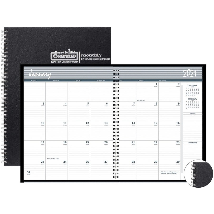 Hod262092 – House Of Doolittle Monthly Calendar Planner 2 8 1/2 X 11 Monthly Calendar Pages