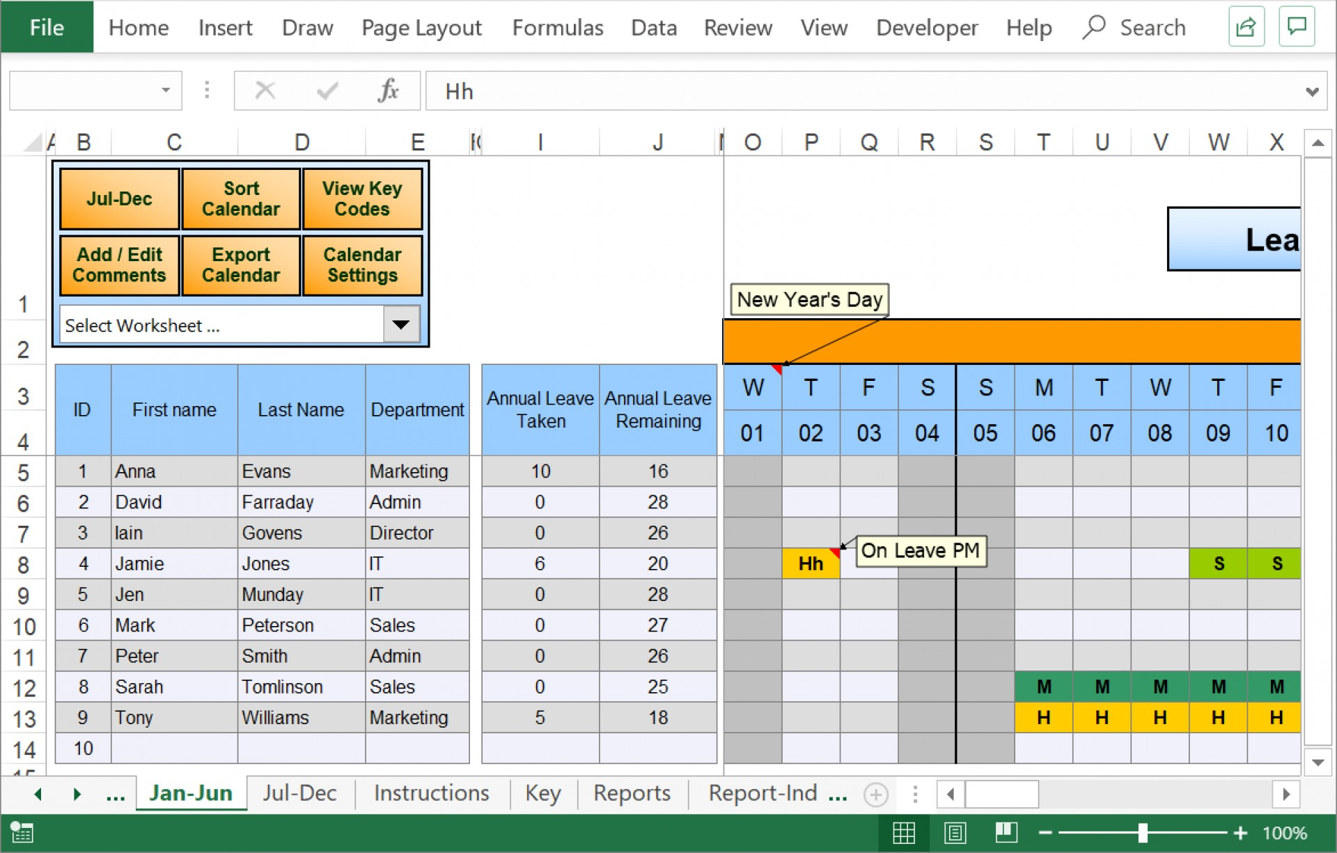 Holiday Spreadsheet Template 2020 In Hours | Example Time Off Calendar Excel Template