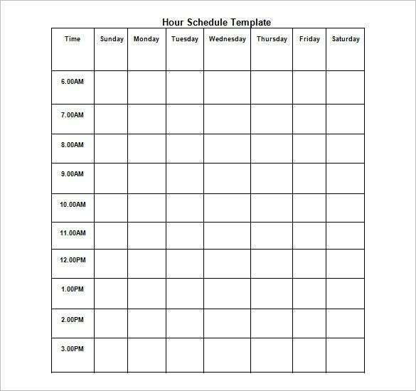 Hourly Schedule Template – 11+ Free Sample, Example Format Blank Time Table For 7 Days
