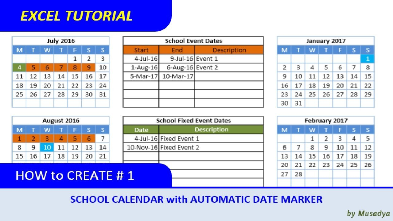 How To Create Excel School Calendar With Automatic Date Insert Calendar In Excel
