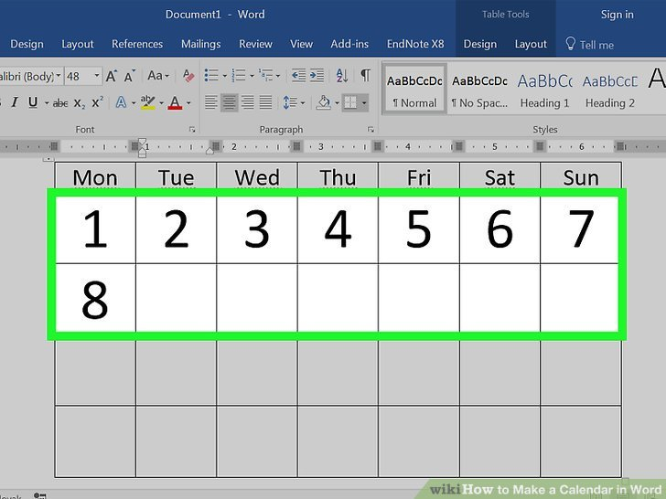 How To Make A Calendar In Word (With Pictures) – Wikihow Create A Short Timers Calender