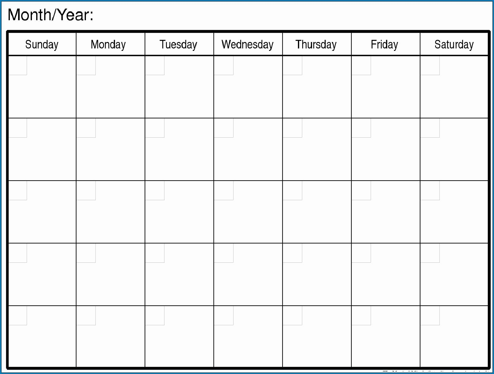 How To Printable Monday Through Friday Monthly Calendar Mon – Friday Monthly Calendar Template