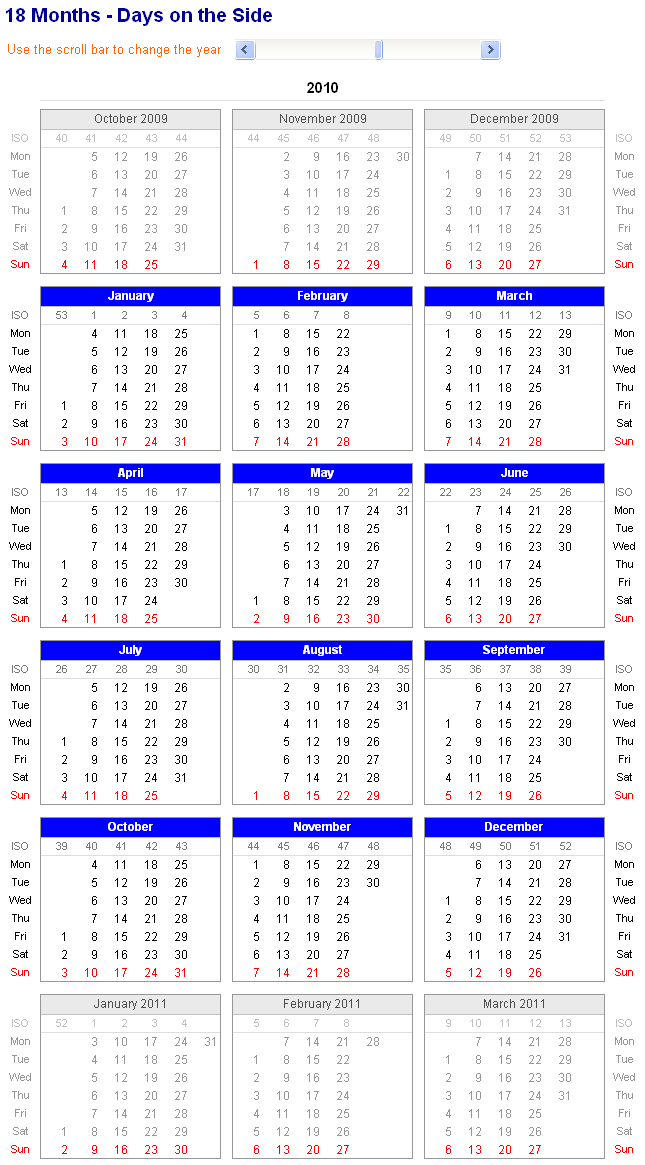Image Of Adjustable And Printable Excel Calendar – 18 Sprint Days Calendar Excel