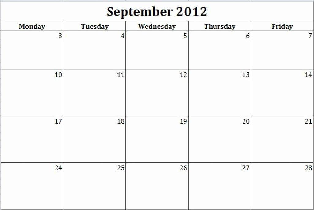 Inspirational Monday Through Friday Schedule Template In Monday Through Friday Printable