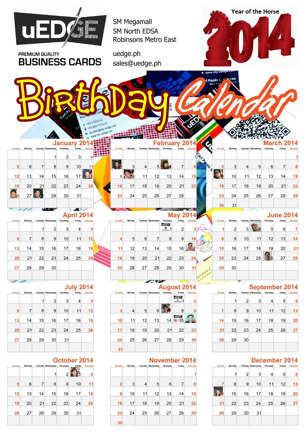 Introducing Our Newest Product: 2014 Calendars W Birthday Calendars That We Can Fill In