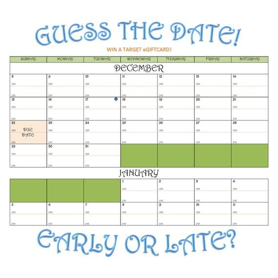 Items Similar To Due Date Guess Calendar On Etsy Guess The Baby Date Calendar