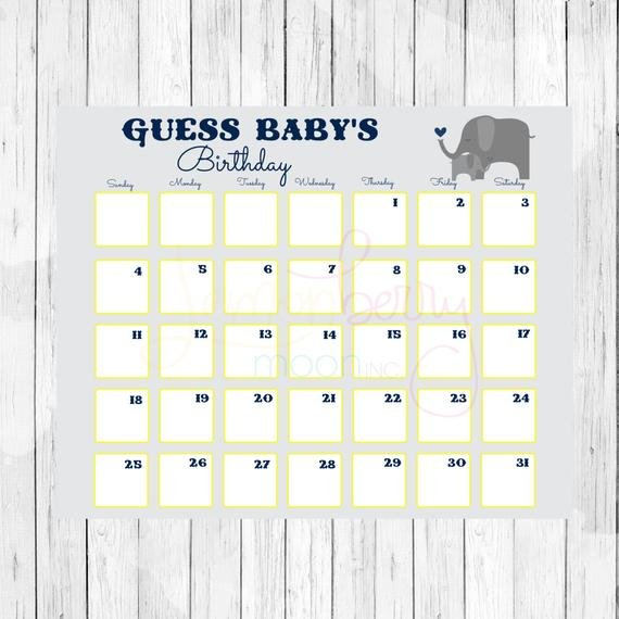 Items Similar To Guess Baby'S Birthday Printable Baby Guess The Baby Printable