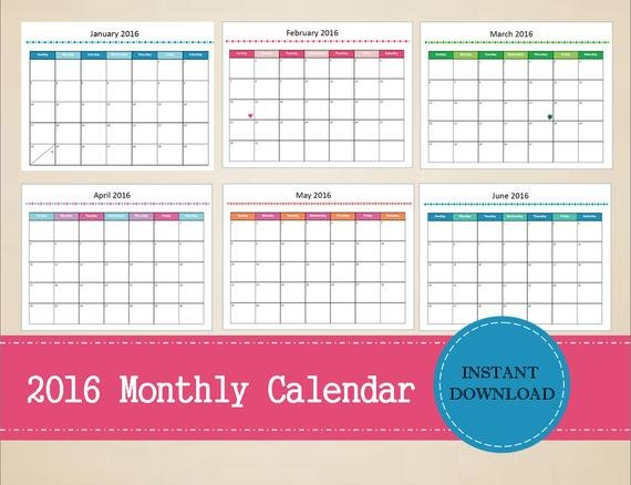 Items Similar To Printable 2016 Monthly Calendar Free Editable Monthly Calendar Teachers