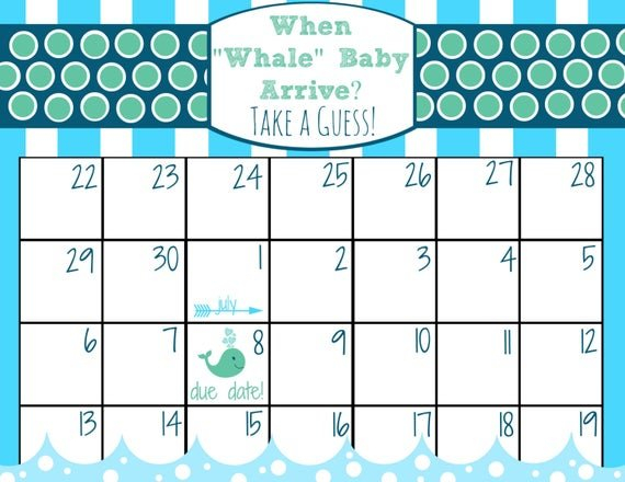 Items Similar To Printable Baby Due Date Calendar Baby Date/Time Guessing Games Verbiage