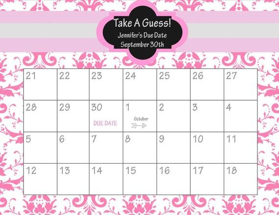 Items Similar To Printable Due Date Calendar // Baby Baby Date/Time Guessing Games Verbiage
