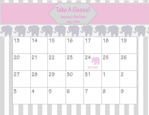 Items Similar To Printable Due Date Calendar // Baby Baby Due Date Calendar