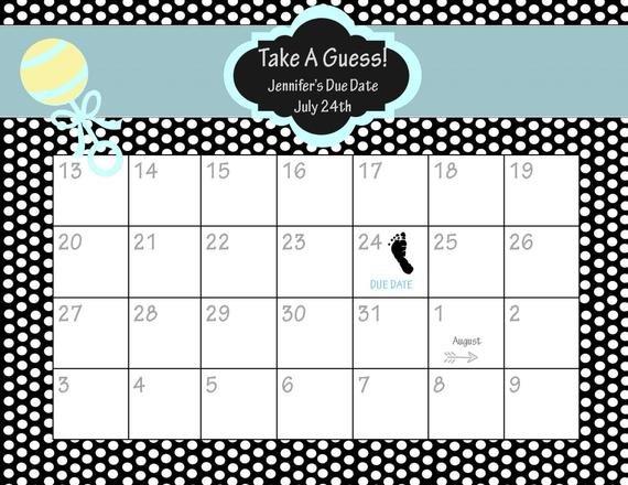 Items Similar To Printable Due Date Calendar // Baby Free Printable Due Date Calendar