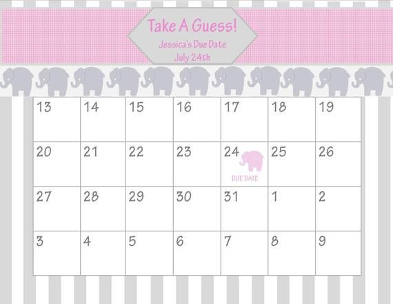 Items Similar To Printable Due Date Calendar // Baby Guess Due Date Calander