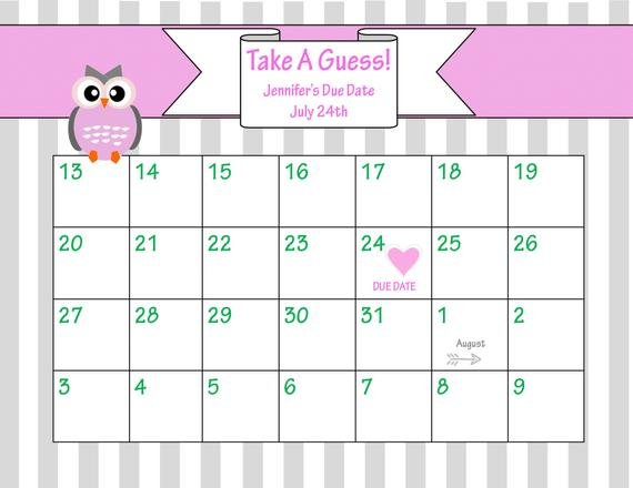 Items Similar To Printable Due Date Calendar // Baby Printable Baby Due Date Calendar