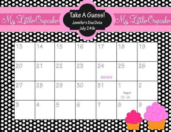 Items Similar To Printable Due Date Calendar // Baby Printable Guess The Due Date