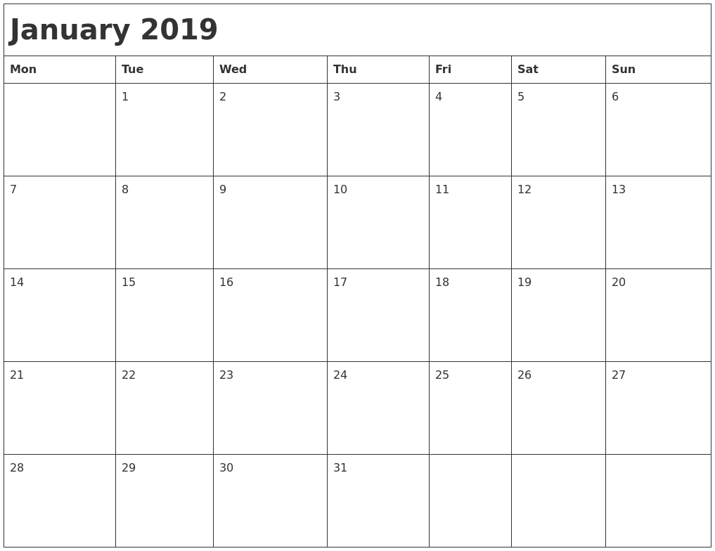 January 2019 Month Calendar May Calendar Starting On Monday
