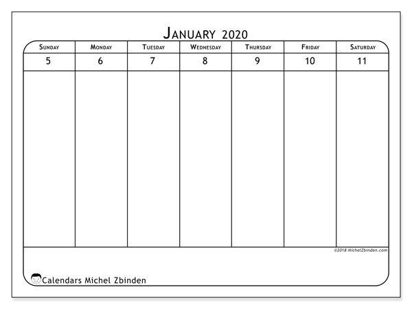 January 2020 Calendar (43 2Ss) – Michel Zbinden En Printable Calendar For Every 2 Weeks