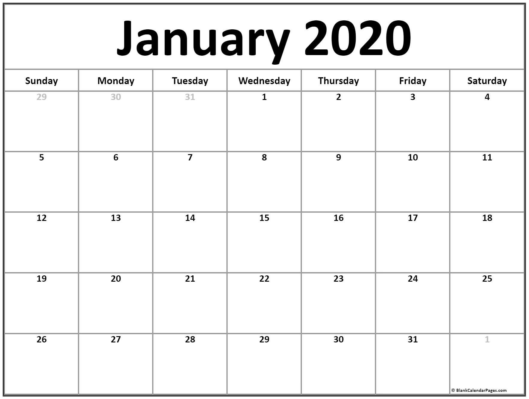 January 2020 Calendar | Free Printable Monthly Calendars Free Blank Calendar Page